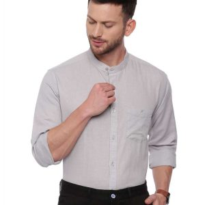Grey Semi Casual shirt with Mandarin Collar