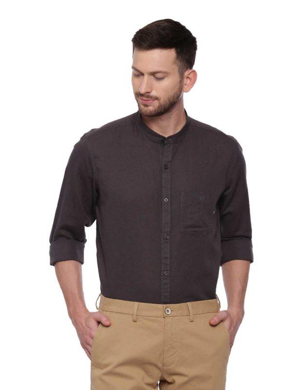 Brown Semi Casual shirt with Mandarin Collar