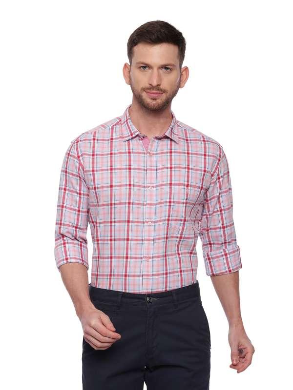 Pink Semi Casual Regular checkered shirt