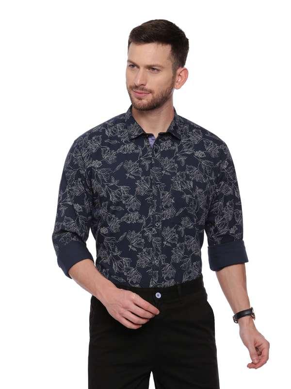 Navy blue Semi Casual Regular Mens tailored Printed shirt