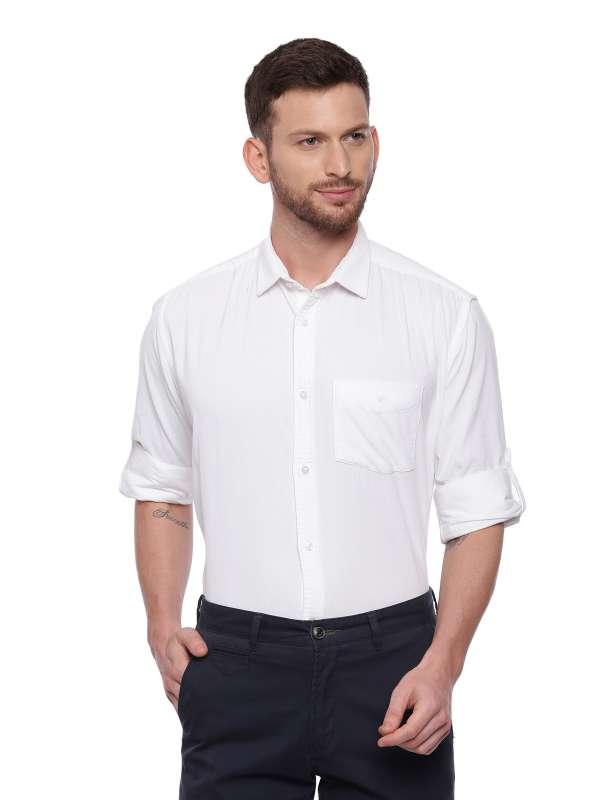 White Semi Casual Regular tailored corduroy shirt