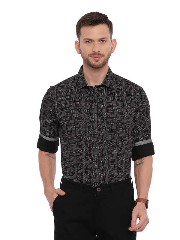 Black Semi Casual Regular Mens Printed shirt