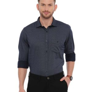 Navy Blue Semi Casual Regular Printed Shirt