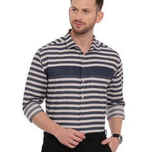 Grey Semi Casual Regular tailored Striped shirt