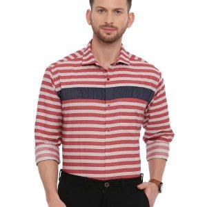 Red Semi Casual Regular tailored Striped shirt