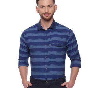 Blue Semi Casual Regular Striped shirt