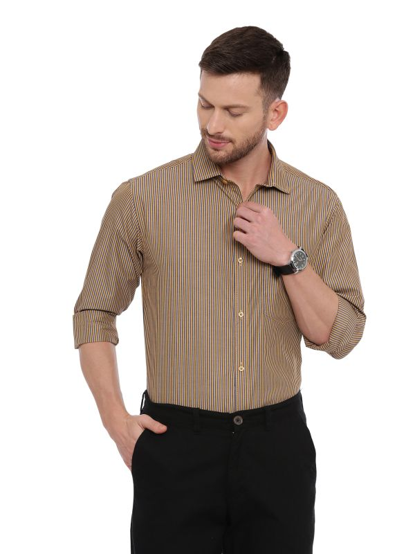 Brown Smart formal Regular Mens Striped shirt