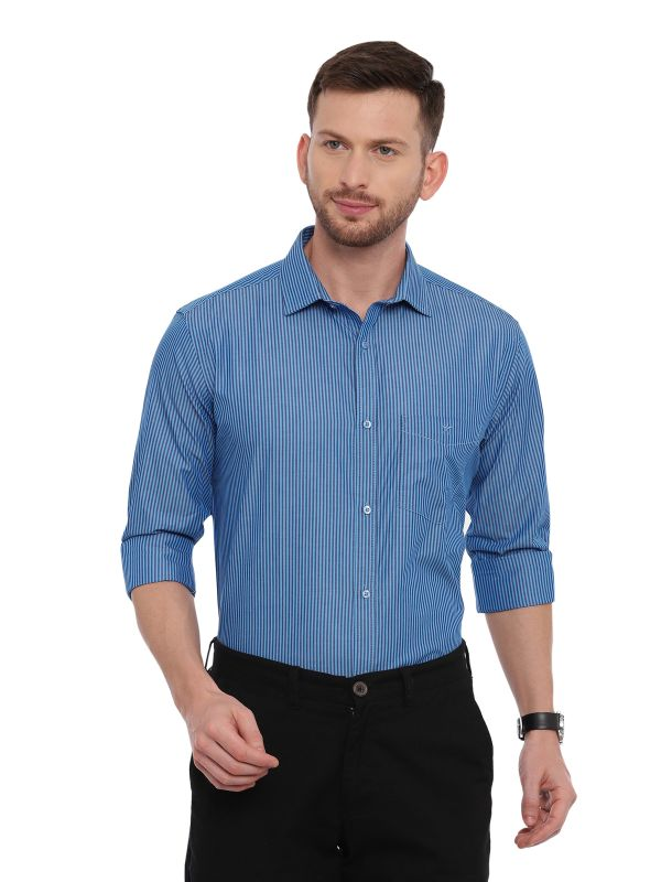Blue Smart formal Regular Mens Striped shirt