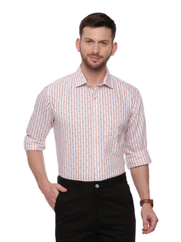 Orange SemiCasual Regular Striped shirt