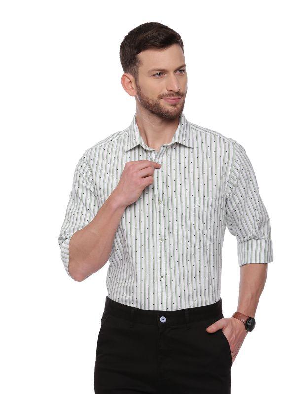 Green SemiCasual Regular Striped shirt