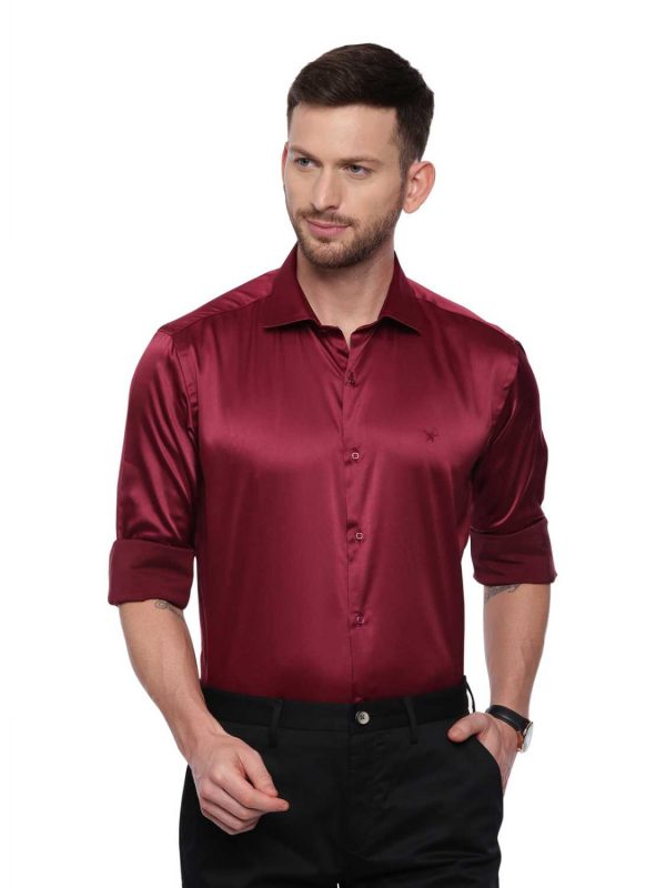 Dark Red Semi Casual Regular Shirt