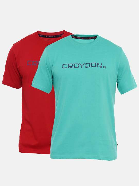 Green And Maroon Crewneck Typographic Printed T-Shirt Combo
