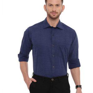 Navy Blue Formal Regular Shirt