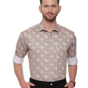 Beige Semi Casual Regular tailored Printed shirt