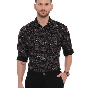 Black Semi Casual Regular tailored Printed shirt