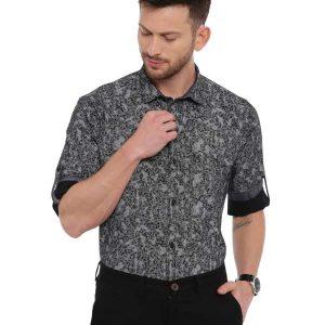 Black Semi Casual Regular Printed shirt