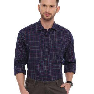 Navy Blue Semi Casual Regular checkered shirt