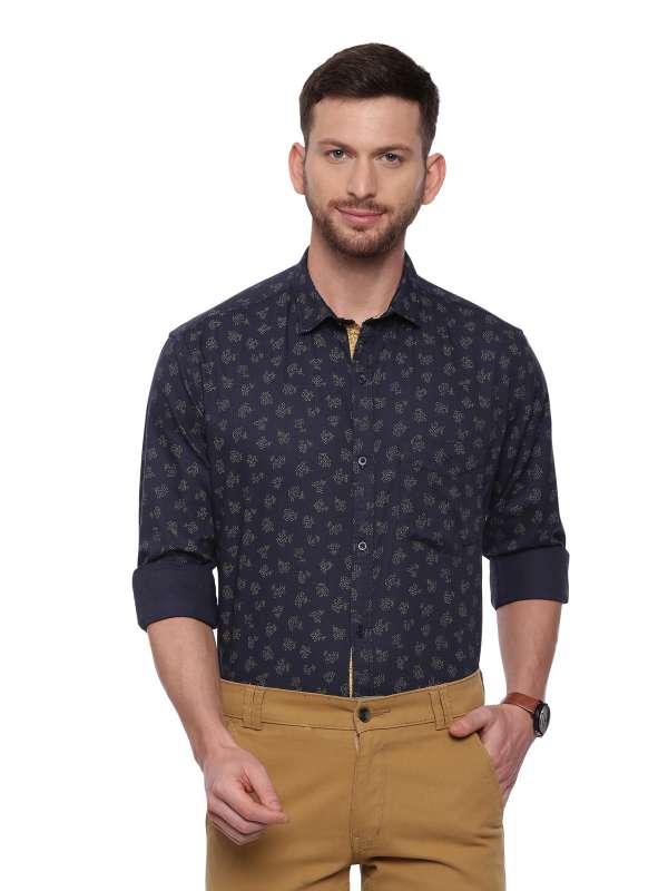 Navy Blue SemiCasual Regular tailored checkered shirt