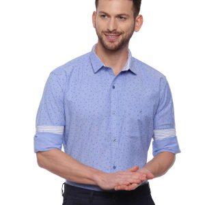 Blue Smart formal Regular tailored Printed shirt