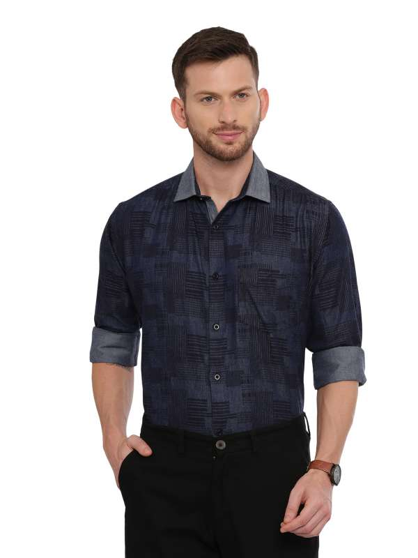 Navy Blue SemiCasual Regular tailored Printed shirt