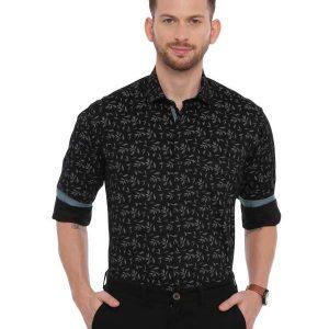Black SemiCasual Regular Printed shirt