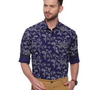 NavyBlue Semi Casual Regular tailored Printed shirt