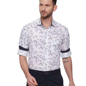 White Semi Casual Regular Printed shirt