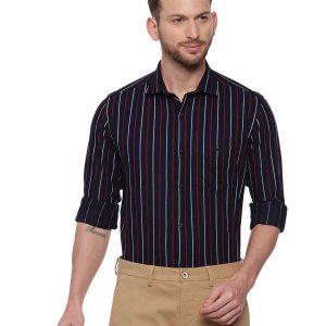 Navy Blue Semi Casual Regular tailored Striped shirt