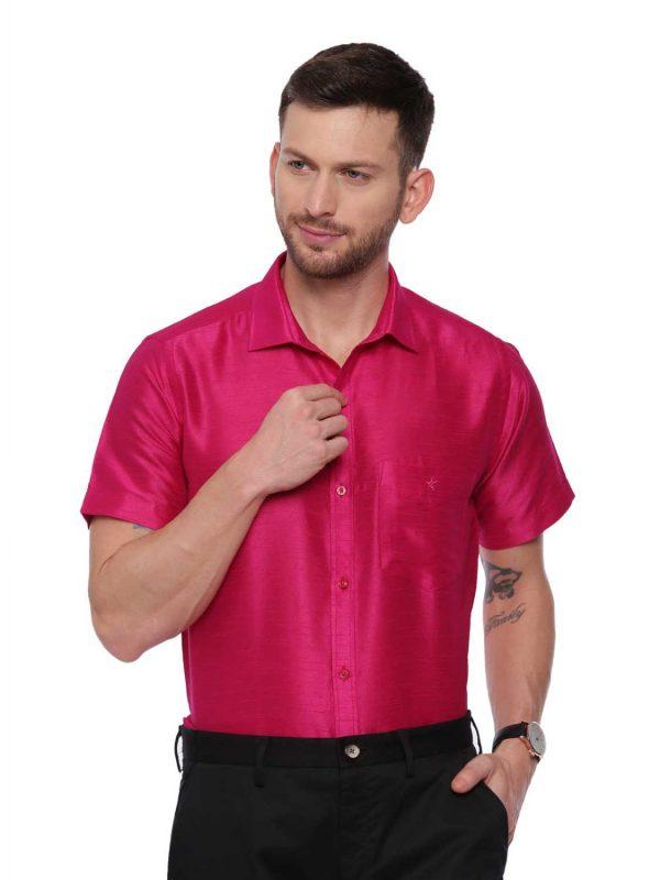 Pink Semi Casual Regular tailored solid shirt