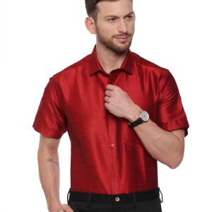 Red Semi Casual Regular tailored solid shirt