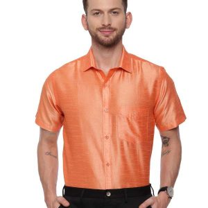 Orange Semi Casual Regular tailored solid shirt