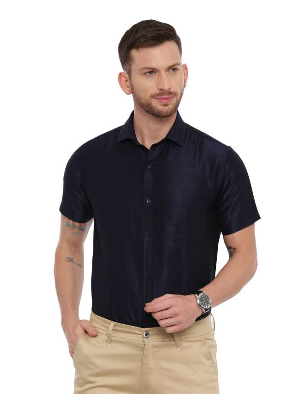 Navy Blue SemiCasual Regular tailored solid shirt