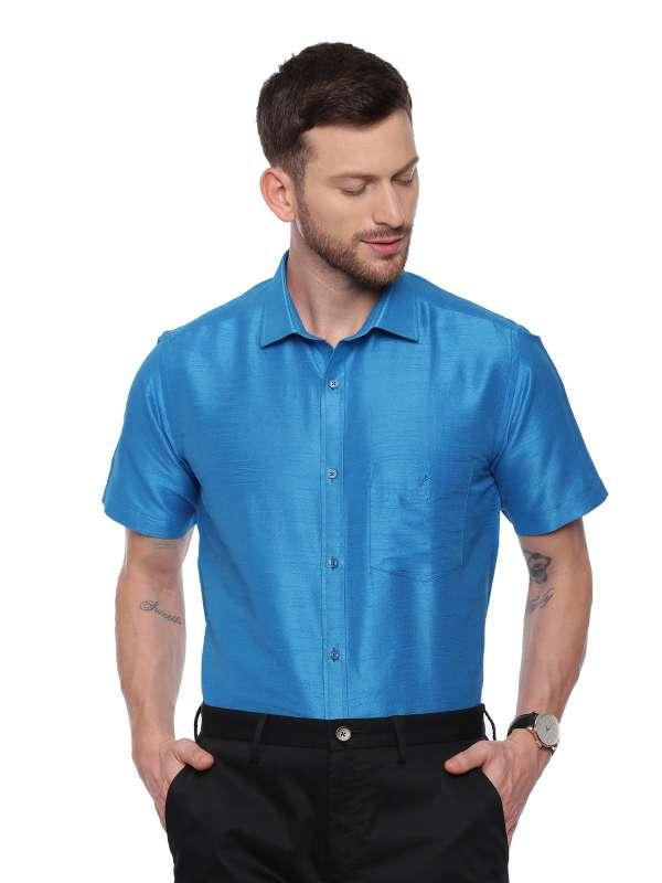 Blue Semi Casual Regular tailored solid shirt