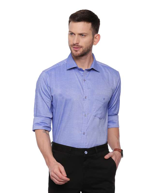 Blue Formal Regular tailored solid shirt