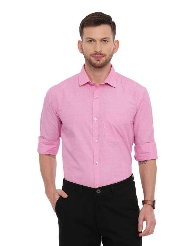 Pink Formal Regular tailored solid shirt
