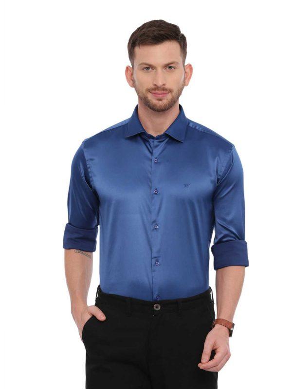 Blue Semi Casual Regular Shirt