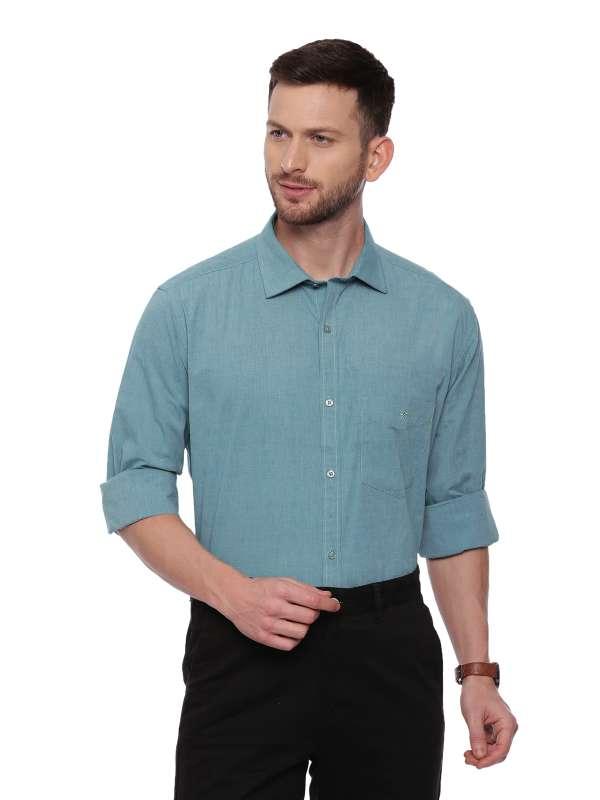 Green Formal Regular tailored solid shirt