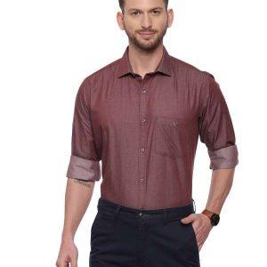 Brown Formal Regular Mens tailored solid shirt