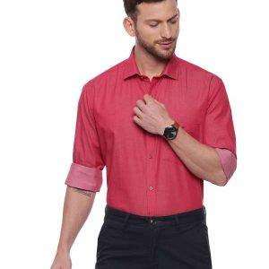Pink Formal Regular Mens tailored solid shirt