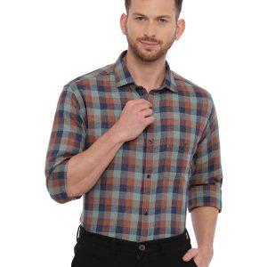 Multi Semi Casual Regular tailored checkered shirt