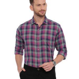 Grey SemiCasual Regular checkered shirt