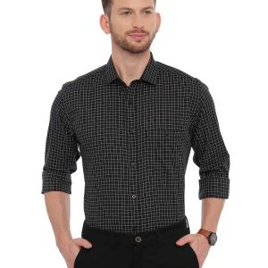 Black Formal Regular Mens tailored checkered shirt