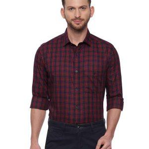 Navy blue Smart formal Regular Mens tailored checkered shirt