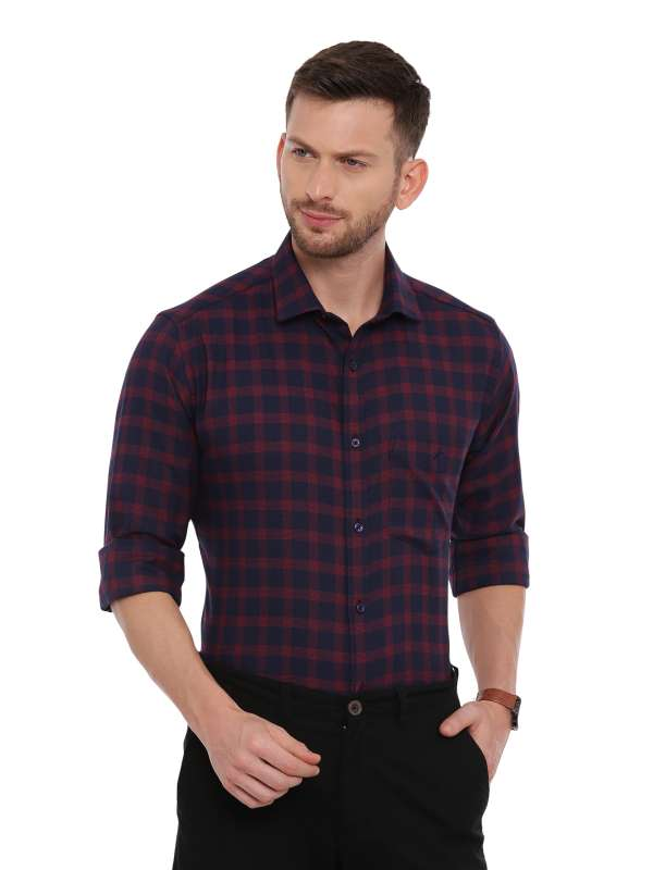 Navy blue Smart formal Regular checkered shirt