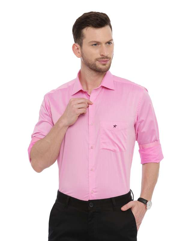 Pink Smart formal Regular tailored solid shirt