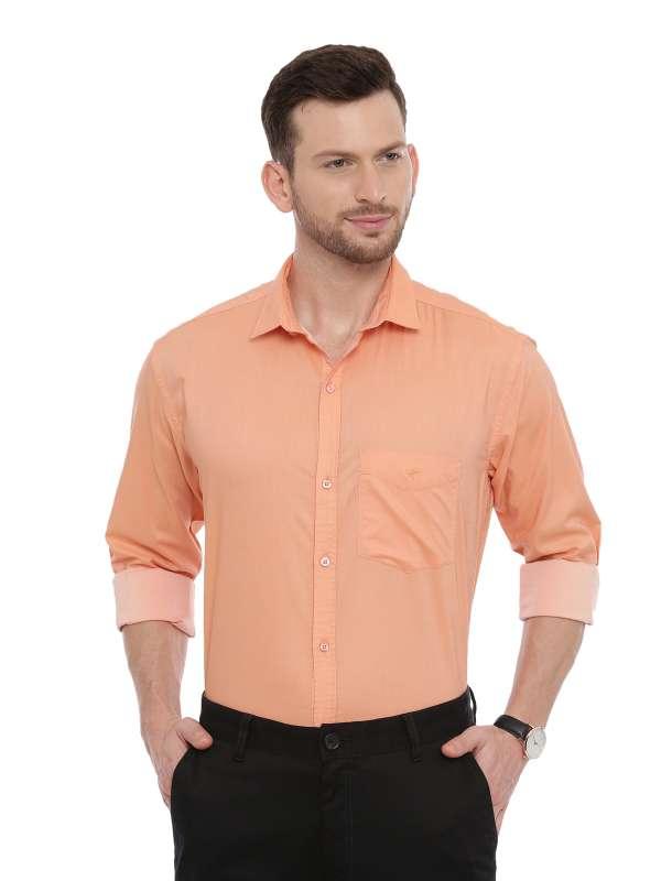 Orange Smart formal Regular tailored solid shirt
