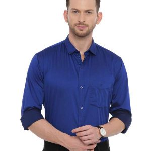 Blue Smart formal Regular tailored solid shirt