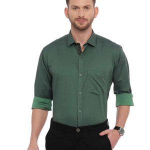Green Smart formal Regular tailored solid shirt