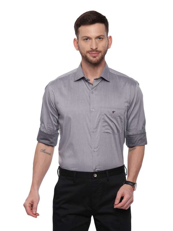 Grey Smart formal Regular tailored solid shirt
