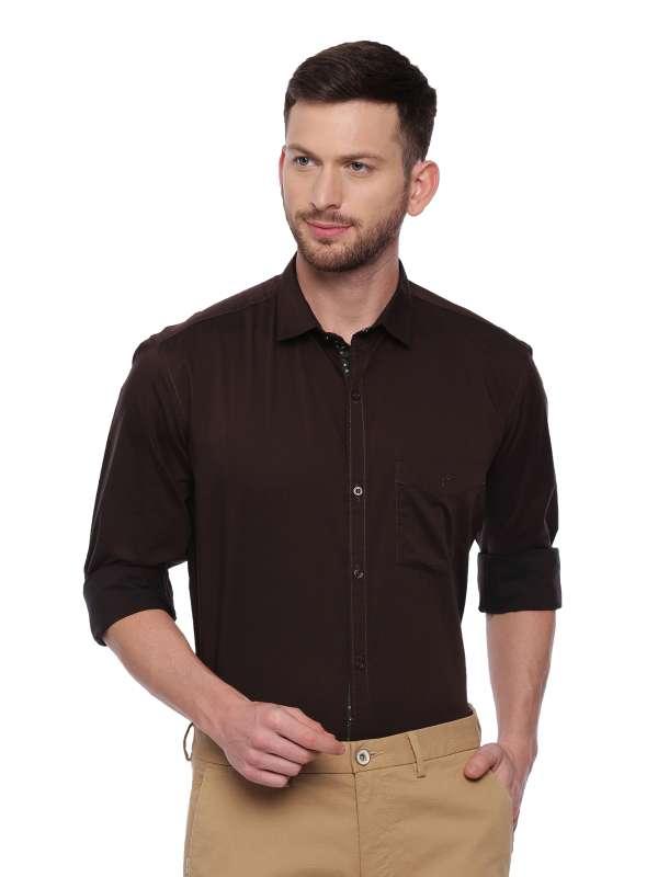Brown Smart formal Regular tailored solid shirt